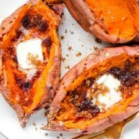 A Baked Sweet Potato makes a delicious side dish or a meal on its own. With lots of options for toppings, there's bound to be a combination you'll love!