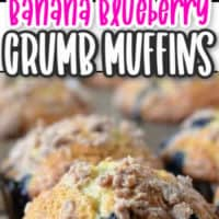 Blueberry muffins on a cooling rack and a muffin with a crumb topping