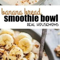 This quick and easy Banana Bread Smoothie Bowl tastes just like freshly baked banana bread, in a cool and creamy breakfast smoothie form! Very simple to make with just a few basic pantry ingredients and perfect for busy mornings!