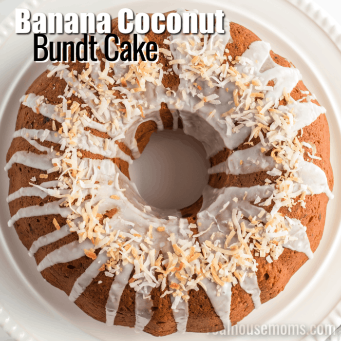 sqaure image of banana coconut bundt cake with text