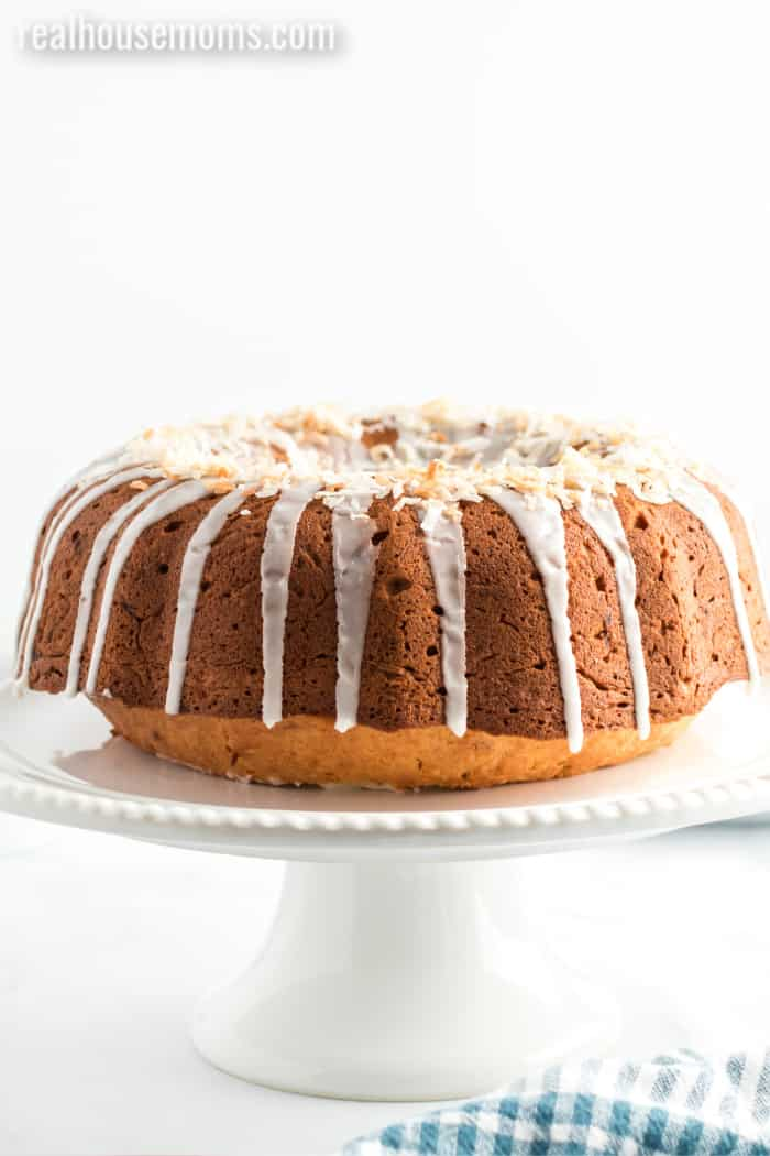 banana coconut bundt cake drizzled with glaze