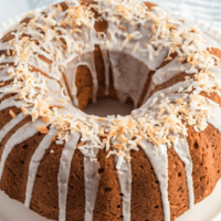 Delicious Banana Coconut Bundt Cake is a light banana cake packed with coconut & drizzled with a sweet sugar glaze. Perfect for brunch or dessert!