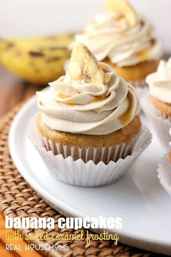 BANANA CUPCAKES WITH SALTED CARAMEL FROSTING are homemade goodness. Lovely enough for special occasions, but easy enough for everyday treats!