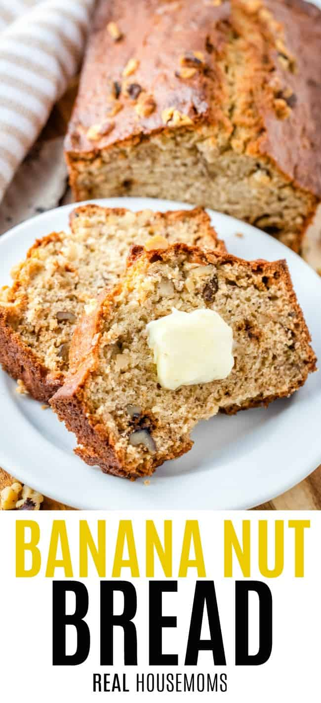 slices of banana nut bread on a plate with butter