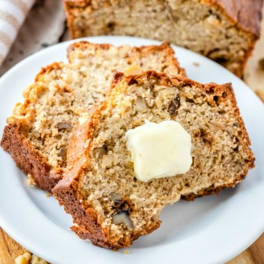 My recipe for Banana Nut Bread is full of flavor! It's quick, easy and certainly a family classic with minimal ingredients that is seriously addicting!