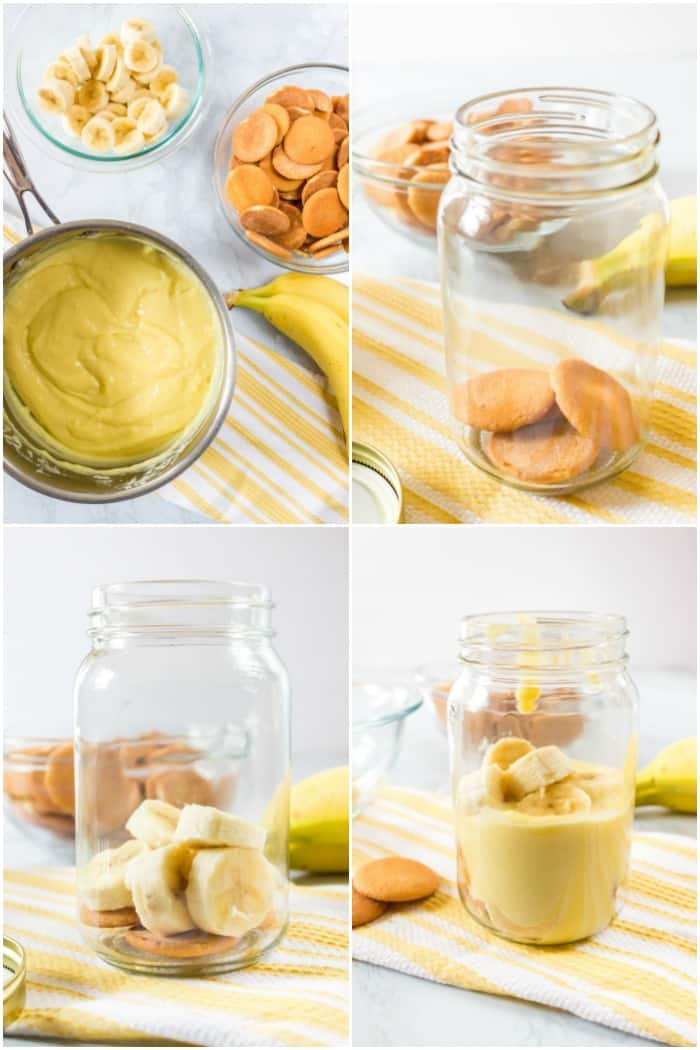 ingredients and steps to make banana pudding