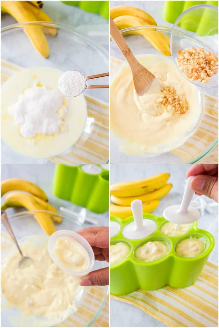 steps to make banana pudding yogurt pops