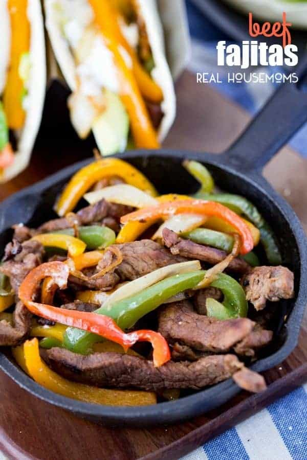These flavorful BEEF FAJITAS are tender beef marinated in a delicious sauce, and cooked with peppers and onions for a fantastic and delicious meal!