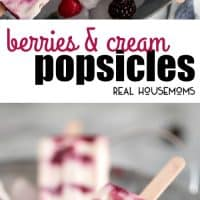 Cool down this summer with these sweet, refreshing, and healthy Berries & Cream Popsicles!