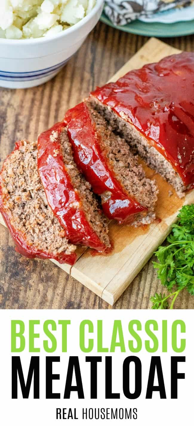 classic meatloaf sliced on a cutting board