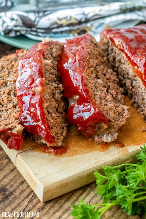 meatloaf topped with glaze and sliced