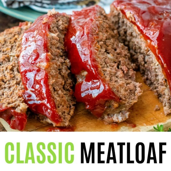 square image of classic meatloaf with text