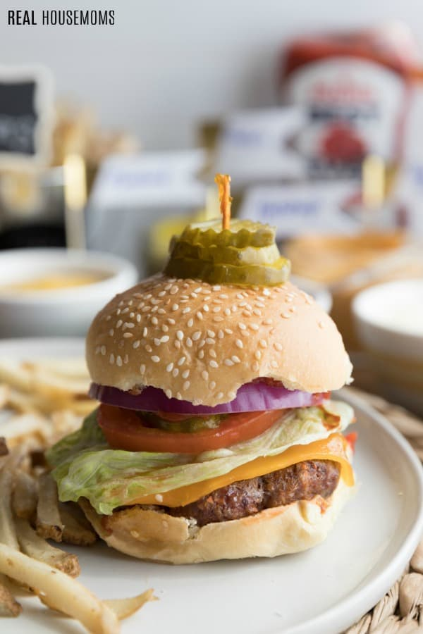 best burger recipe on a plate with fries