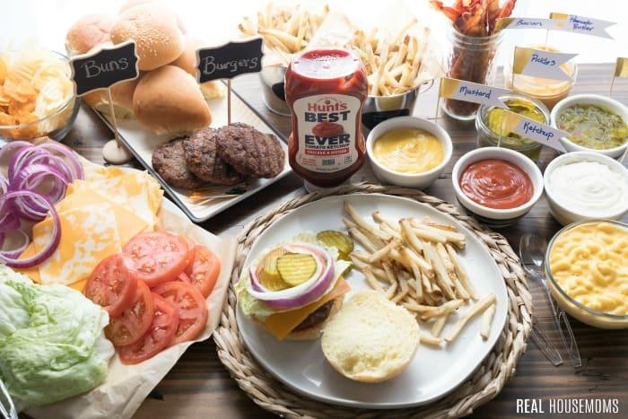 burger bar spread on a table