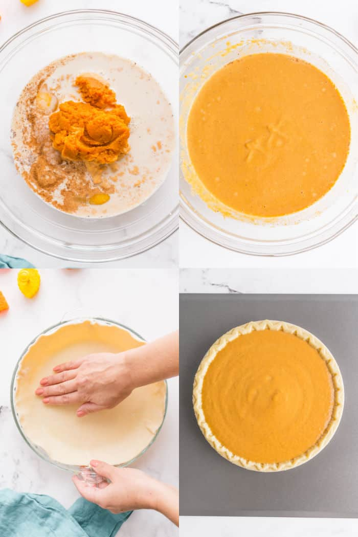 pumpkin pie filling ingredients in a mixing bowl, pumpkin pie filling in a bowl after mixing, hand pressing pie crust itno the bottom of a pie plate, Pie plate with crust and pie filling on a baking sheet
