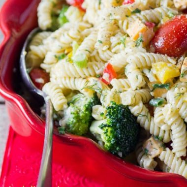 Do you love a great pasta salad in the summer months? This BEST THREE CHEESE RANCH PASTA SALAD works great for picnics, gatherings, potlucks and BBQs. It is a great party side dish!