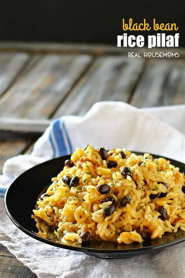 BLACK BEAN RICE PILAF is simmered in bouillon seasoning & broth and loaded with black beans. You won't believe how easy it is to make this old family recipe that everyone LOVES. No more need for a box!
