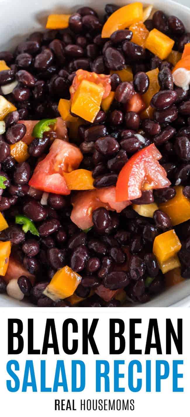 close up of black bean salad with pepper and tomato