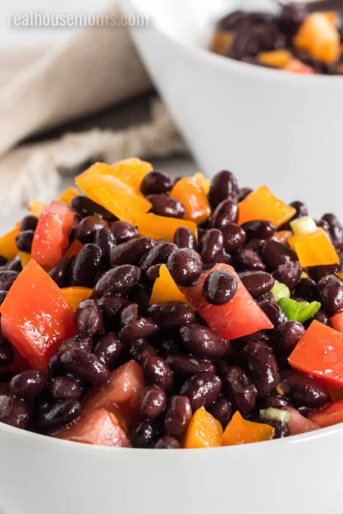 black beans with peppers and tomato for salad