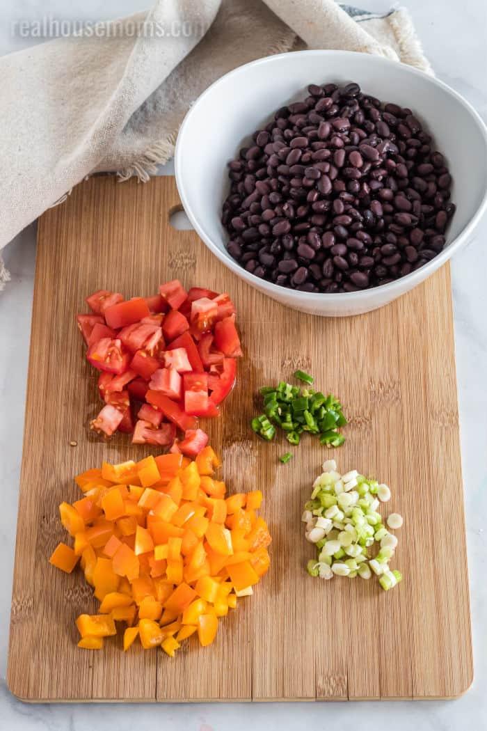 ingredients for black bean salad
