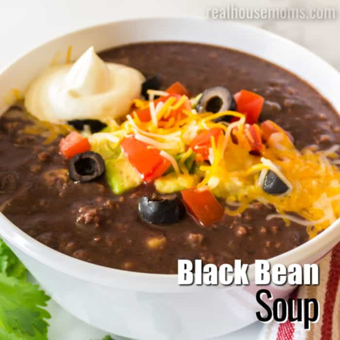 square image of black bean soup with text