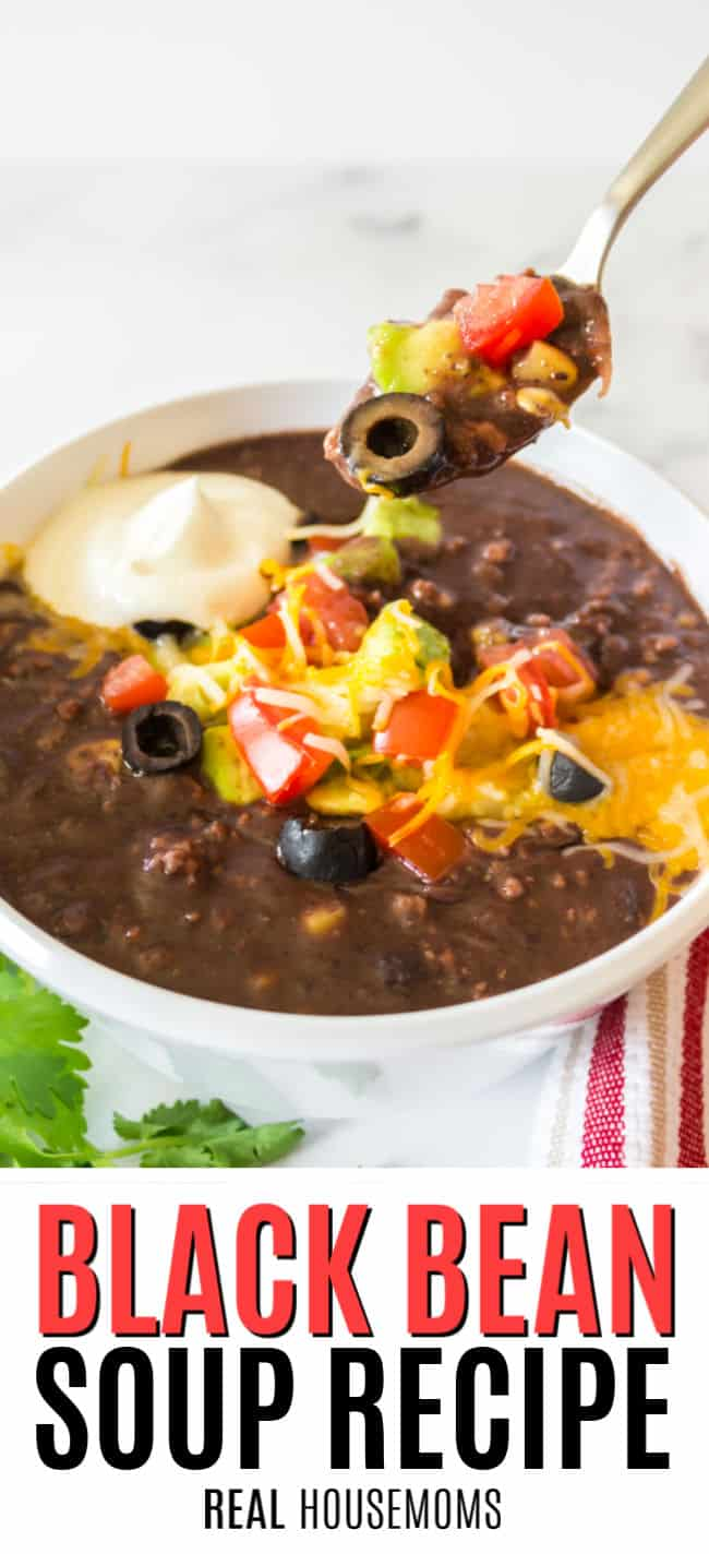 spoonful of black bean soup