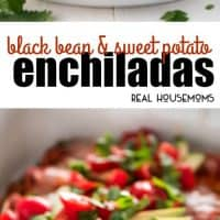 Black Bean and Sweet Potato Enchiladas are the perfect meatless meal. Full of veggies, beans & cheese, then topped with enchilada sauce, fresh tomatoes, avocados, and refreshing cilantro for a dinner you'll crave!