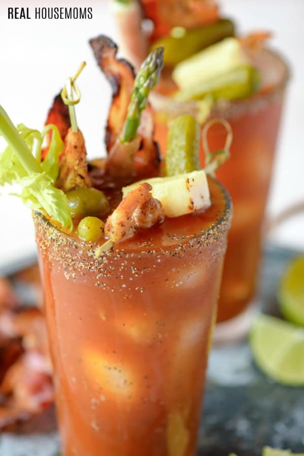 close up of bloody mary garnishes in the cocktail