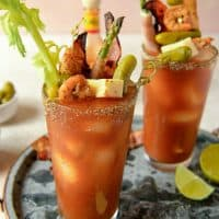 "Every Sunday brunch deserves to start off with a hearty, fully loaded Bloody Mary! Spicy tomato juice, vodka, and all kinds of crazy garnishes make this cocktail the ultimate ""crazy weekend"" Instagram photo!"