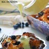 BLUEBERRY BREAD PUDDING is a sweet Southern treat drizzled with an amazing white chocolate sauce. Enjoy this easy recipe for a sweet breakfast treat or a special dessert!