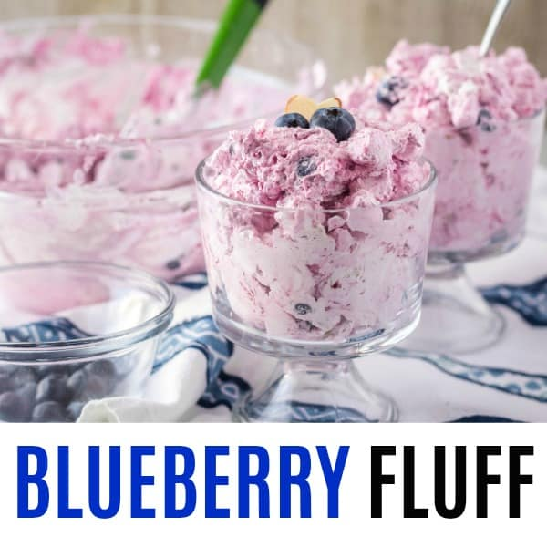 square image of blueberry fluff with text