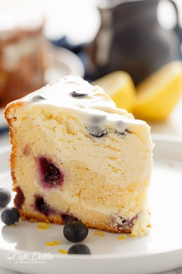 Blueberry Lemon Cheesecake Cake - Cafe Delites
