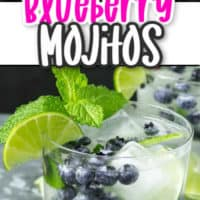 Collage of bluebery mojitos. Top image is looking into the glass filled with mint and lime bottom image has the full glass.