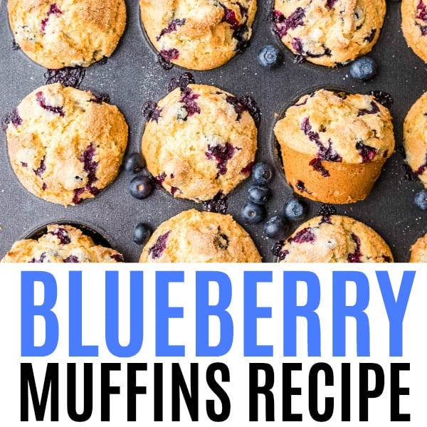 square image of blueberry muffins with text