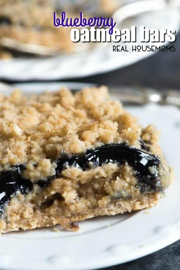 Only 6 ingredients in these Blueberry Oatmeal Bars. Use pie filling to have this recipe turn out more like a cobbler or use jam to have a packable snack!