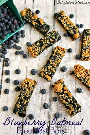 Blueberry Oatmeal Breakfast Bars by Delightful E Made