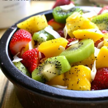 "This BOOZY TROPICAL FRUIT SALAD is the perfect addition to your spring or summer menu! Loaded with fresh tropical fruit and swimming in a boozy coconut-lime ""dressing"", it's sure to become your favorite new way to eat fruit!"