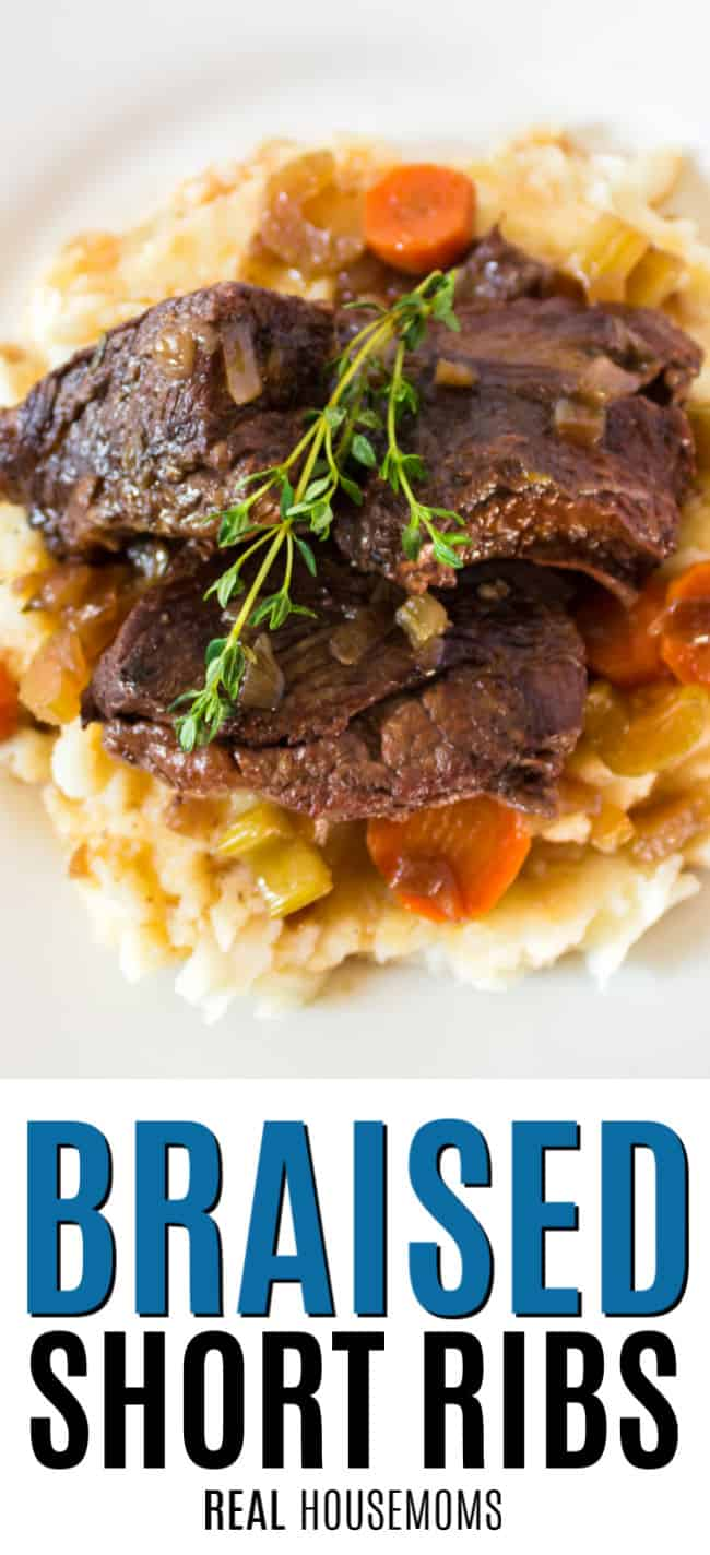 short ribs served over potatoes with veggies and thyme