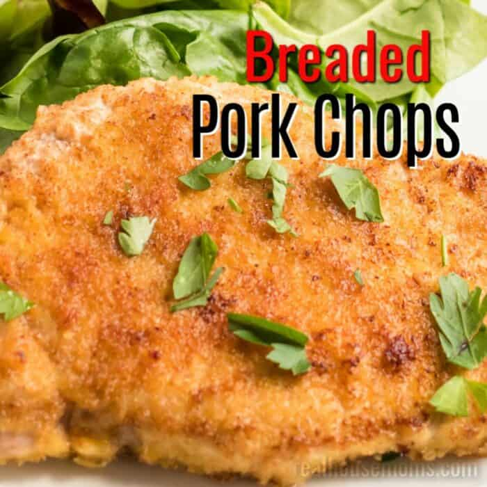 square image of breaded pork chops with text