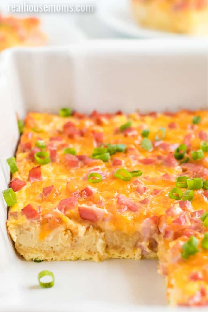 breakfast ham casserole with slices taken out
