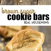 These Brown Sugar Cookie Bars are a great, quick dessert for the family with brown sugar and cinnamon for a warm flavor that works perfectly with a scoop of vanilla ice cream on top!