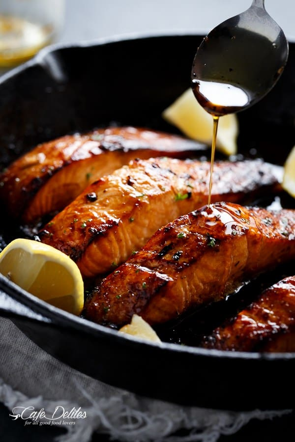 Browned Butter Honey Garlic Salmon - Cafe Delites