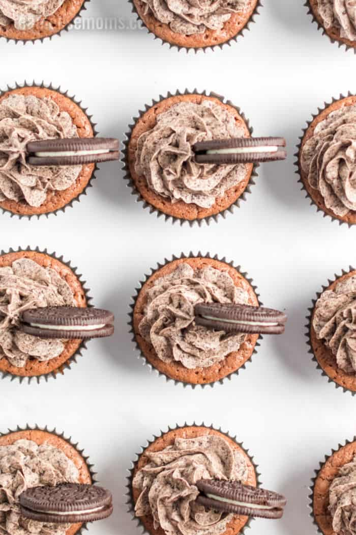 looking down at cookie cupcakes lined up in rows