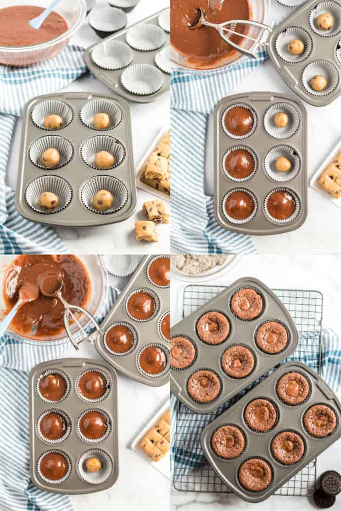 how to layer borwnie cookie cupcakes in muffin tin