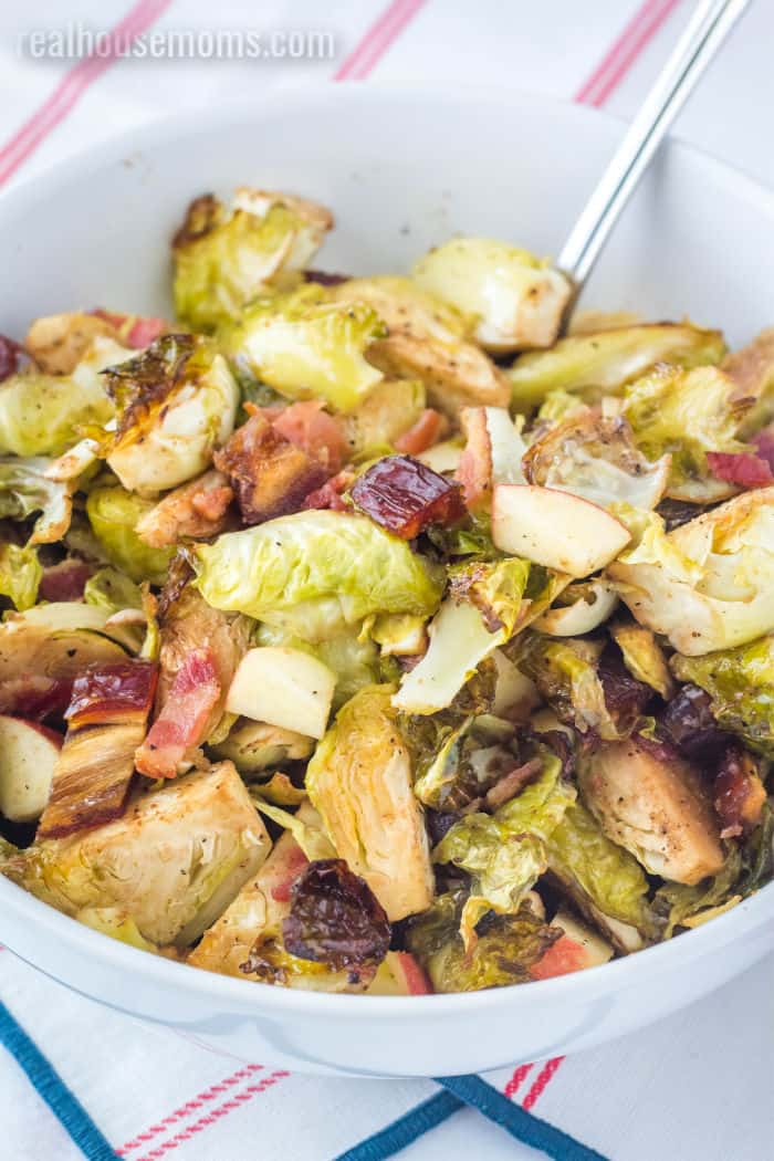serving bowl with roasted brussel sprouts and bacon