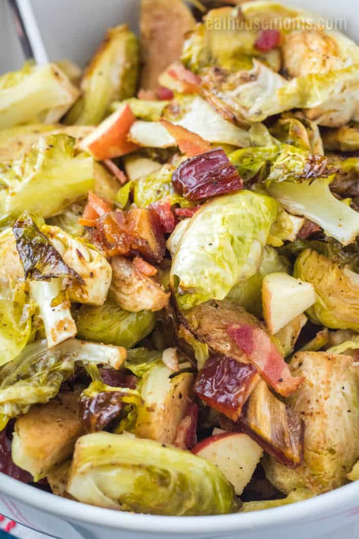 close up of baked brussel sprouts