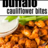 bites of cauliflower coated in buffalo sauce on a white plate and one on a toothpick dipped in ranch