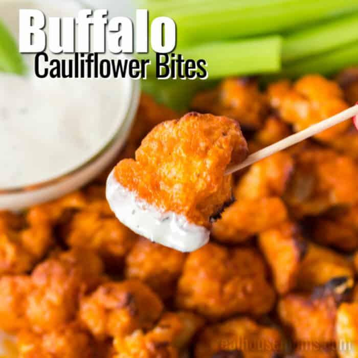 square image of buffalo cauliflower bites with text