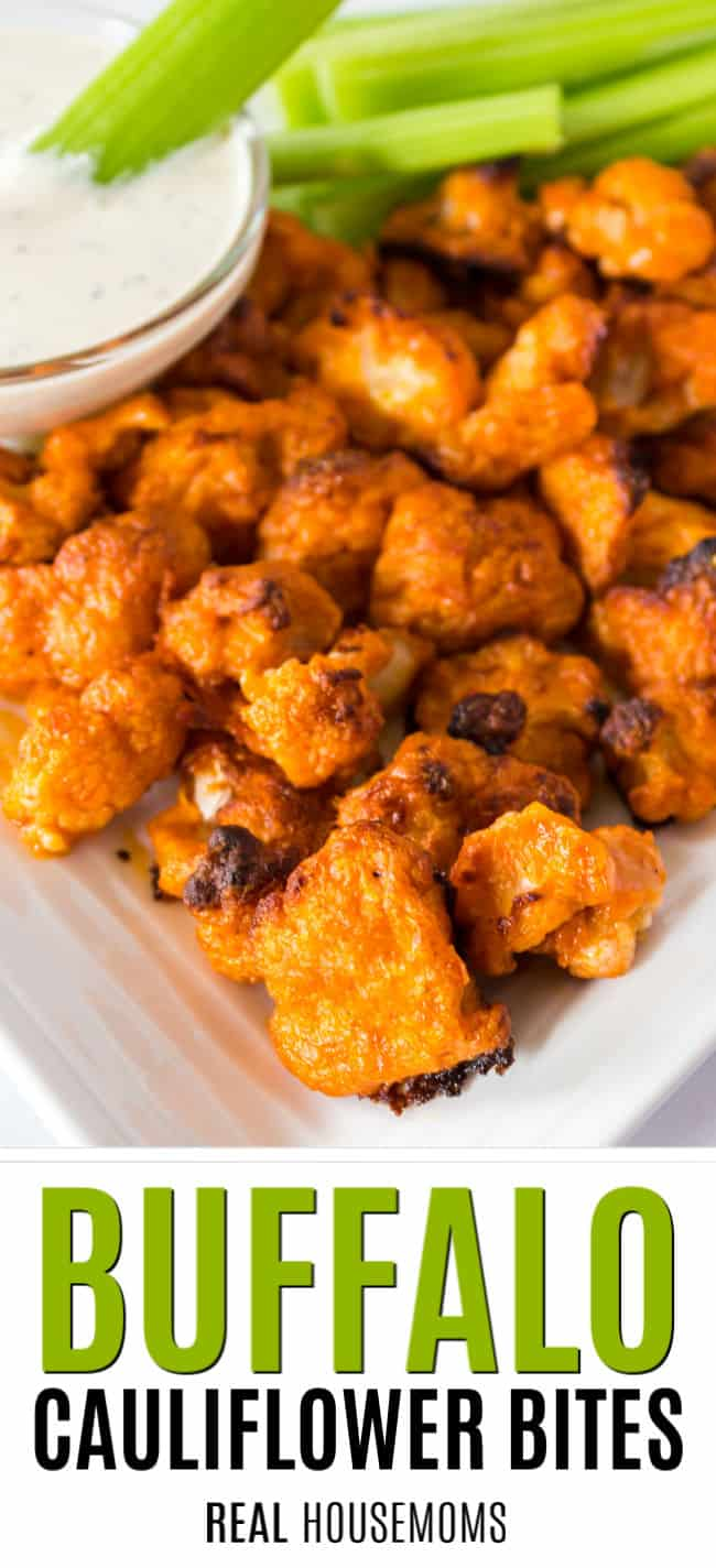 buffalo cauliflower bites on a plate with ranch dressing and celery sticks