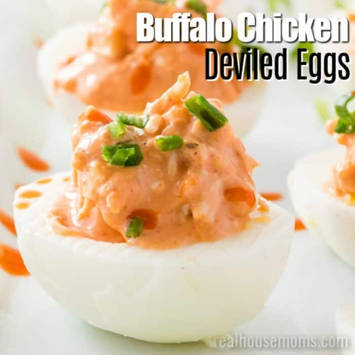 square image of buffalo chicken deviled eggs with text